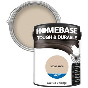 Homebase Tough & Durable Matt Paint - Stone Beige 5L