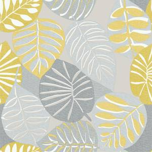 Grandeco Stamped Leaves Yellow Wallpaper