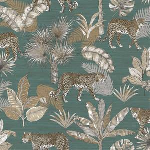 Grandeco Leopard Teal Wallpaper