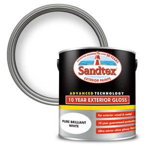 Sandtex Exterior 10 Year Gloss Paint - Pure Brilliant White - 2.5L
