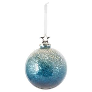 Blue Ombre Crackle Glass Christmas Tree Bauble