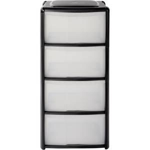 4 Drawer Storage Tower - Black