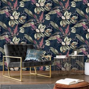 Belgravia Decor Paradise Garden Navy Wallpaper