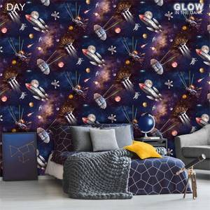 Belgravia Decor Outer Space Glow In The Dark Wallpaper