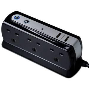 Masterplug 6 Socket 2 USB Surge Compact Extension Lead 2m Gloss Black