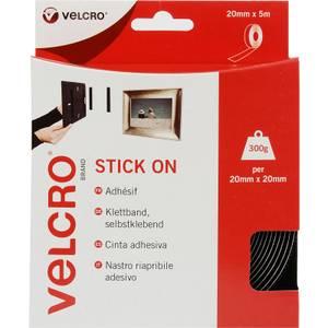 VELCRO? Brand Stick-On Tape - Black - 20mm x 5m