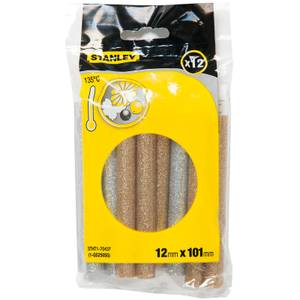 STANLEY Low Temperature Glitter Gold/Silver 12x101mm Glue Sticks- Pack of 12 (STHT1-70437)