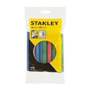 STANLEY Low Temperature Glitter Red/Green/Blue 12x101 mm Glue Sticks - Pack of 12 (STHT1-70436)