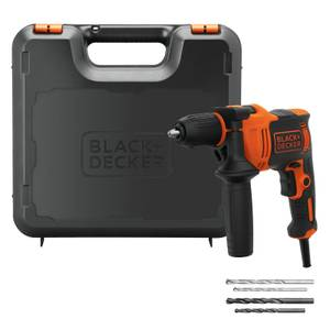 BLACK+DECKER 13mm 710W Corded Hammer Drill with Drill Bit Accessories and Kit Box (BEH710K-GB)