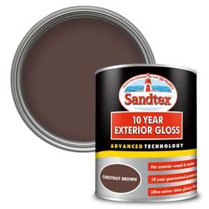 Sandtex Exterior 10 Year Gloss Paint - Chestnut Brown - 750ml