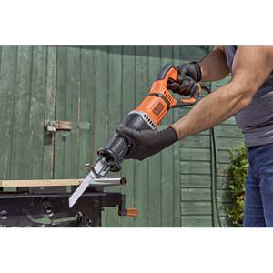 BLACK+DECKER 750W Corded Reciprocating Saw with Branch Holder, Blades and Kit Box (BES301-GB)