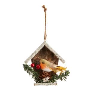 Wood Bird House Hanging Christmas Tree Decoration