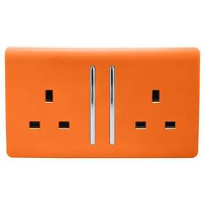 Trendi Switch 2 Gang 13Amp Long Switched Socket in Orange