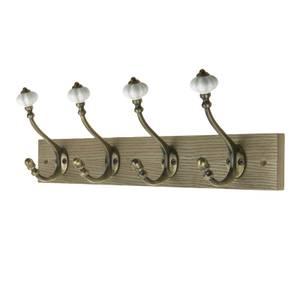 4 Ceramic Antique Brass Hook on Dark Rustic Board