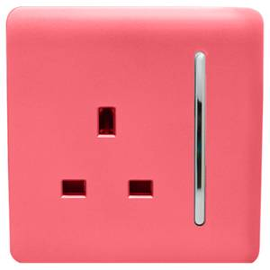 Trendi Switch 1 Gang 13Amp Switched Socket in Strawberry