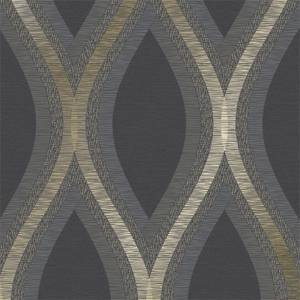 Grandeco Strata Black Wallpaper