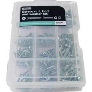 Screw, Nut and Washer Kit - Assorted - 347 Pack