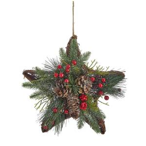 Cone and Berries Rattan Star Christmas Wreath
