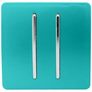 Trendi Switch 2 Gang 2 Way 10Amp Light Switch in Bright Teal