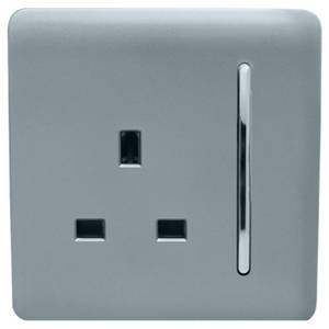 Trendi Switch 1 Gang 13Amp Switched Socket in Cool Grey
