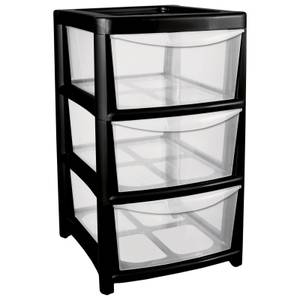 Mobile Tower Unit with 3 Large Drawers - Volcanic Ash with Clear Drawers
