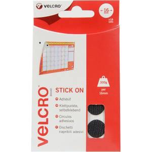 VELCRO? Brand Stick-On Coin - Black - 16mm - 16 Set