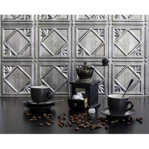 Innovera Decor 3D Design Wall Tile - Kitchen Splashback Cladding Panels (Art Nouveau - Silver, Set of 6)