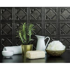 Innovera Decor 3D Design Wall Tile - Kitchen Splashback Cladding Panels  (Art Nouveau - Smoked Pewter, Set of 6)