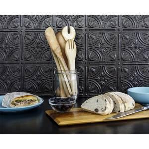 Innovera Decor 3D Design Wall Tile - Kitchen Splashback Cladding Panels  ( Empire - Smoked Pewter, Set of 6)