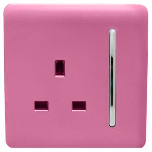 Trendi Switch 1 Gang 13Amp Switched Socket in Pink