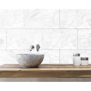 Innovera Decor Decorative Shower & Bathroom Wall Tiles (Carrara Marble, Set of 8)