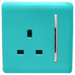 Trendi Switch 1 Gang 13Amp Switched Socket in Bright Teal