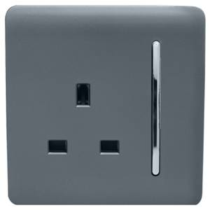 Trendi Switch 1 Gang 13Amp Switched Socket in Warm Grey