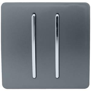 Trendi Switch 2 Gang 2 Way 10Amp Light Switch in Warm Grey