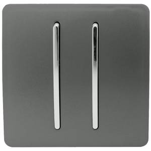 Trendi Switch 2 Gang 2 Way 10Amp Light Switch in Charcoal