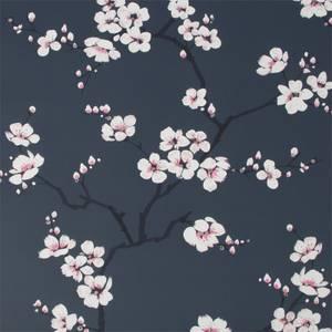 Fresco Apple Blossom Navy Wallpaper