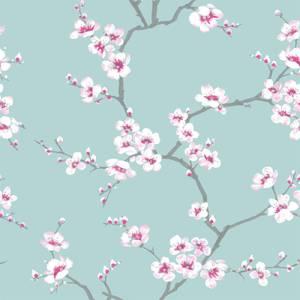 Fresco Apple Blossom Blue Wallpaper