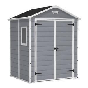 Keter Manor 6 x 5ft Outdoor Plastic Garden Storage Shed - Grey