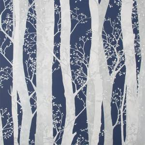 Fresco Dappled Trees Navy Wallpaper