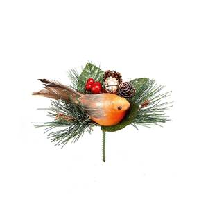 Robin with Pinecone Wreath, Garland or Christmas Tree Decoration Pick