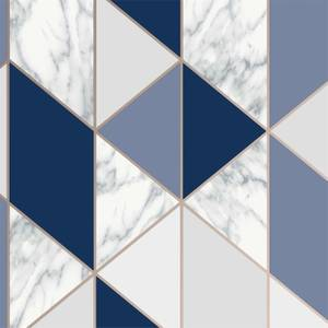 Sublime Marble Geo Navy Wallpaper