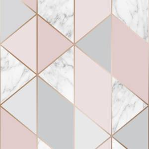 Sublime Marble Geo Pink Wallpaper