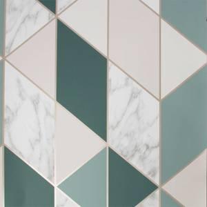 Sublime Marble Geometric Dark Green Wallpaper