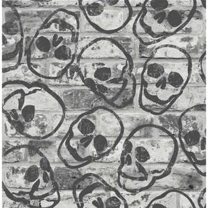 Fresco Skull Wall Grey Wallpaper