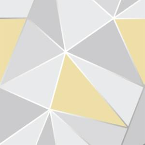 Fresco Geometric Smooth Metallic Yellow Wallpaper