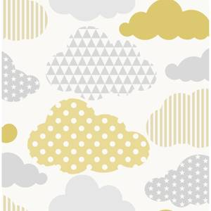 Superfresco Easy Clouds Yellow Grey Wallpaepr