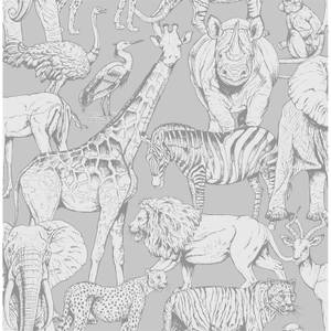 Superfresco Easy Jungle Animals Grey Wallpaper