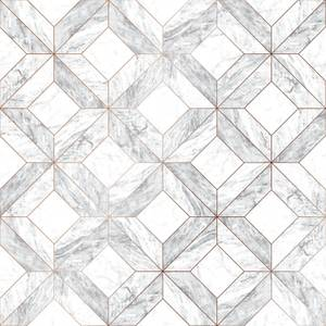 Contour Marble Marquetry Grey Wallpaper