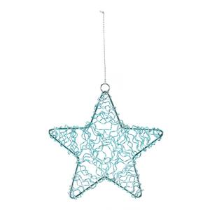 Turquoise Wire Star Hanging Christmas Tree Decoration