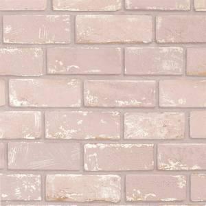 Arthouse Metallic Brick Pink Rose Gold Wallpaper